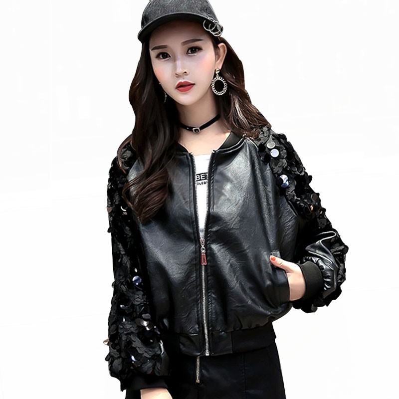 Spring streetwear Boyfriend Sequin Pu   Leather   Casual Bomber Jacket Women Autumn Black Plus Size Cool Zipper Women Coat PY32