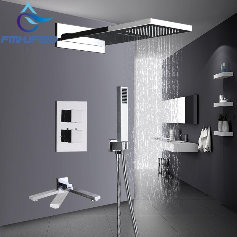 Thermostatic Chrome Finish Shower Faucet 3 Ways Waterfall Rain Shower Head 3 Way Digital Display Mixer Taps 4 Way Bath Faucet