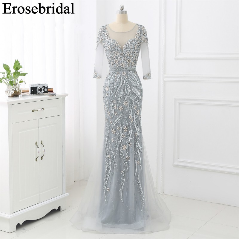 Grey/Champagne Long Sleeve Evening Dress 2019 Beaded Formal Dresses Evening Gown For Women Elegant Party Gowns Mermaid