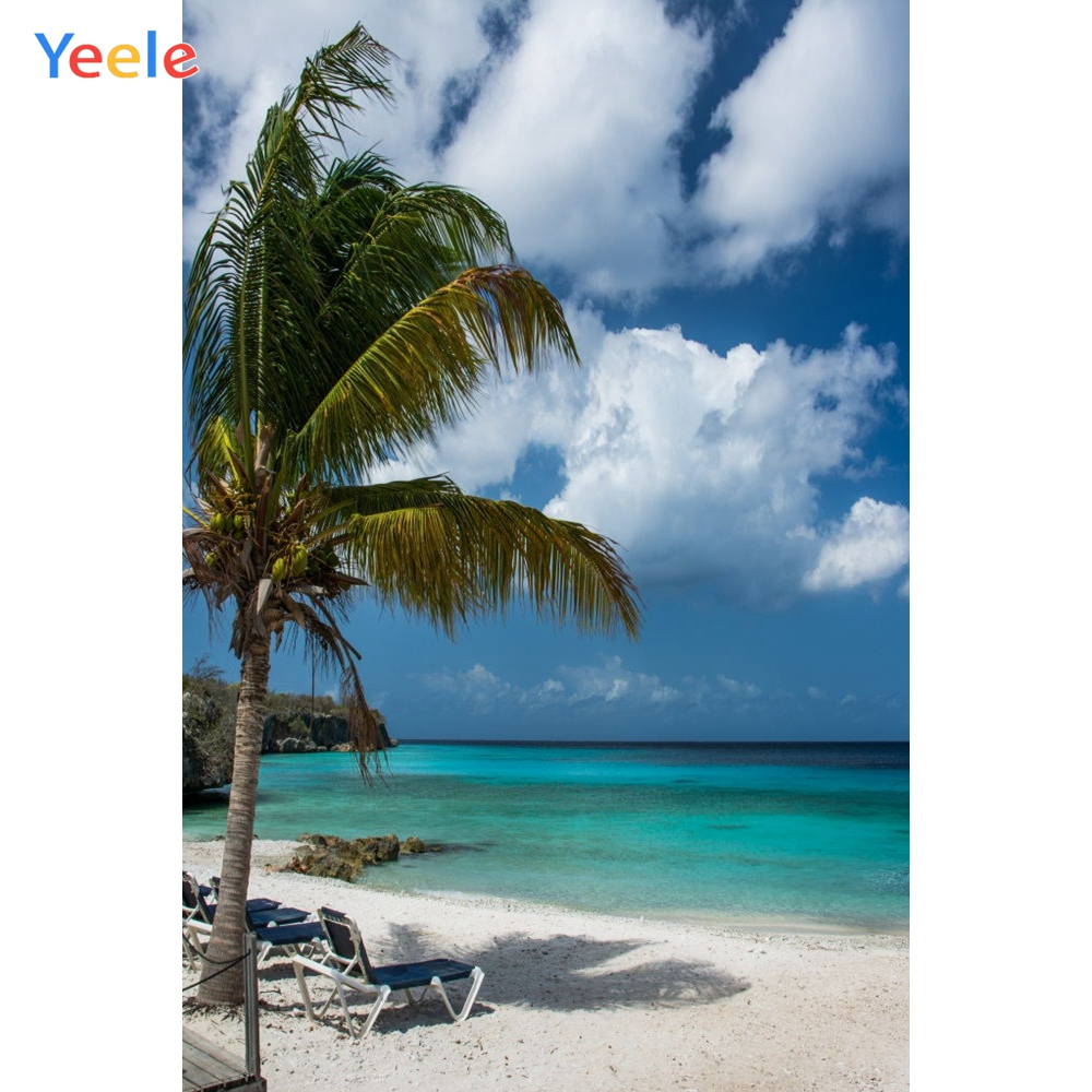 Yeele Seaside Bench Palm Trees Tropical Beach Sky Photography Backgrounds Personalized Photographic Backdrops For Photo Studio in Background from Consumer Electronics