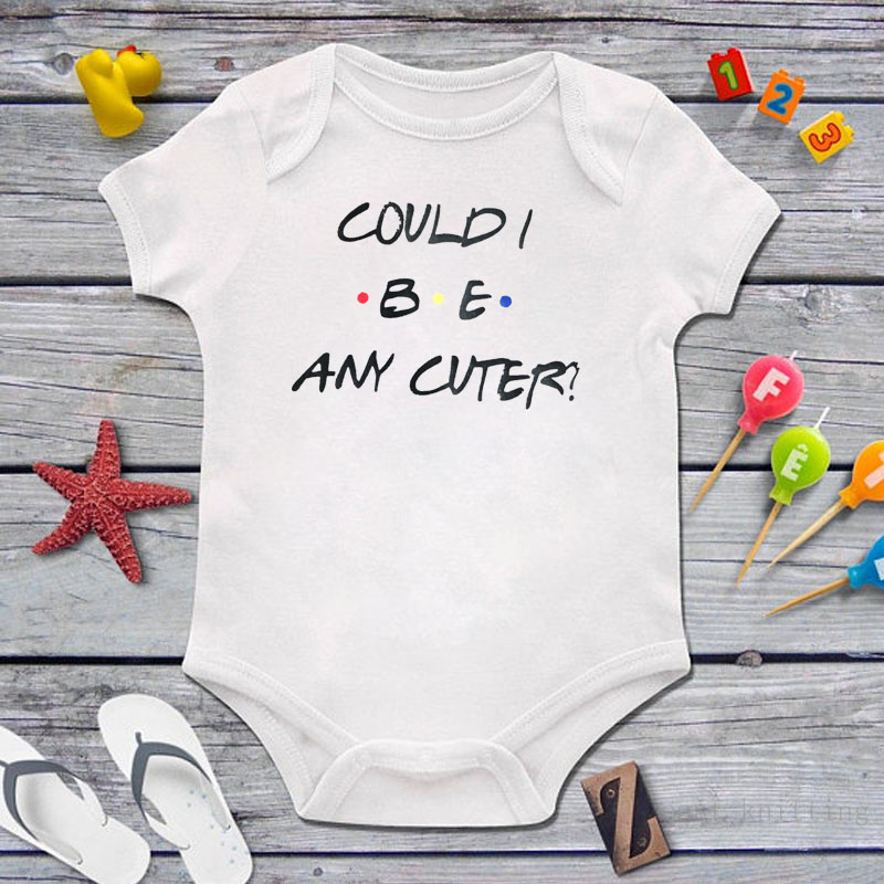 DERMSPE 2019 New Casual Newborn Baby Boys Girls Short Sleeve Letter Print Could Be Any Cuter Romper Baby Clothes White