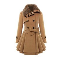 2016 NEW Fashion 2 Colors Irregular Women Faux Fur Lapel Double Breasted Thick Slim Wool Coat