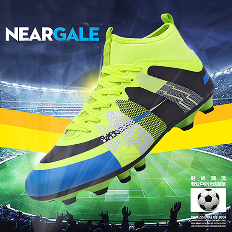 New Adults Men's Outdoor Soccer Cleats Shoes High Top TF/FG Football Boots Training Sports Sneakers Shoes Plus Size 35-45 Rated