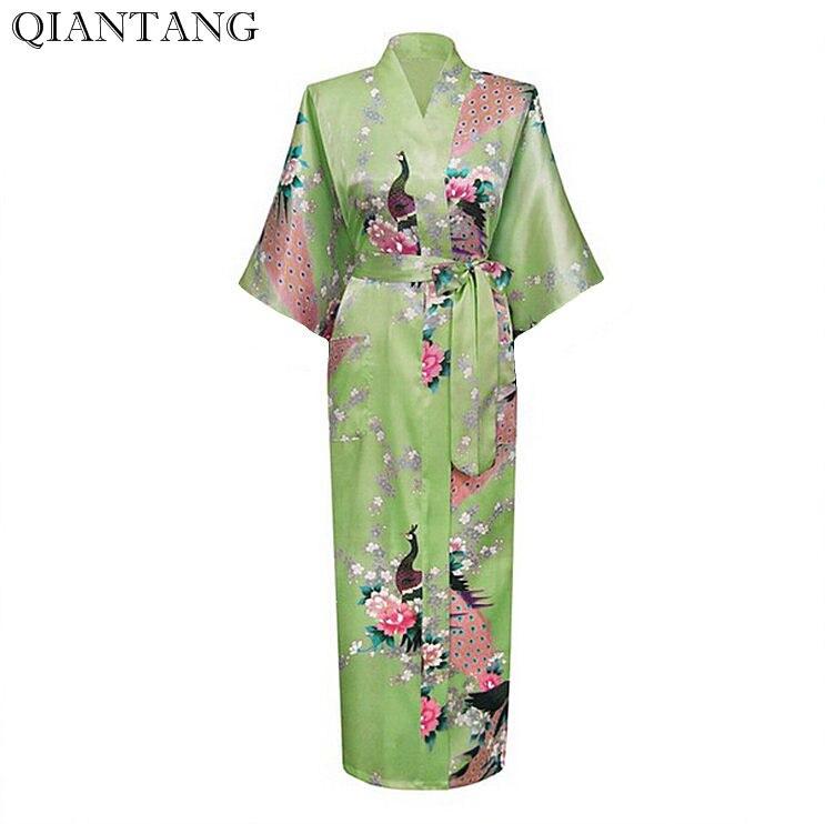 Mujer Pijama Light Green Female Robe Bathrobe Style Long Women's Sleepwear Kimono Bath Gown Plus Size S M L XL XXL XXXL Zhc01L