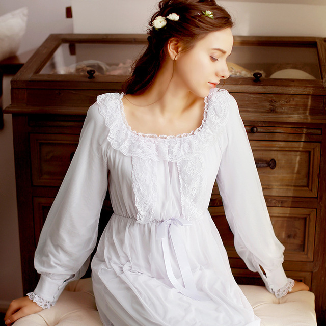 ac51aaecc0 Pregnant Women 2018 New Spring Autumn Sleeping Dress Lace Retro Palace Long  Paragraph Pajamas Nightdress Home