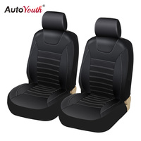 AUTOYOUTH Soft Luxury PU Leather Car Seat Covers Airbag Compatible Universal Fit for All Car SUV Truck Car Seat Protector Black