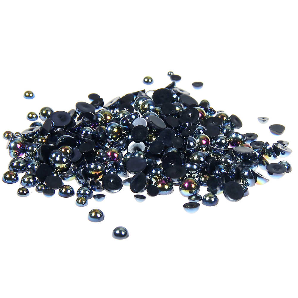2-5mm And Mixed Sizes Black AB Resin Half Round Craft ABS Pearls Beads Glitter For 3D Nails Art Design Decorations Fingernails