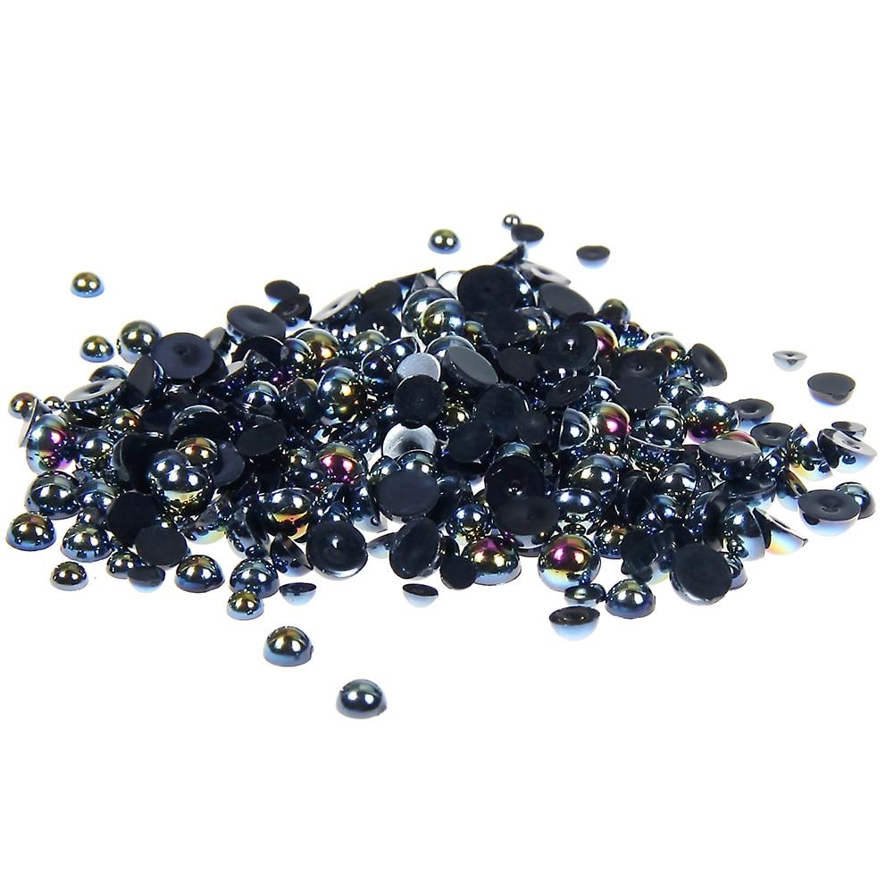 где купить 2-5mm And Mixed Sizes Black AB Resin Half Round Craft ABS Pearls Beads Glitter For 3D Nails Art Design Decorations Fingernails по лучшей цене