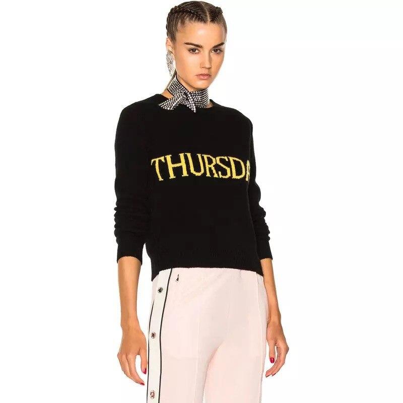 Heyouthoney une semaine noir lettre motifs tricot pull femmes Streetwear pulls pull tricoté feminino hauts