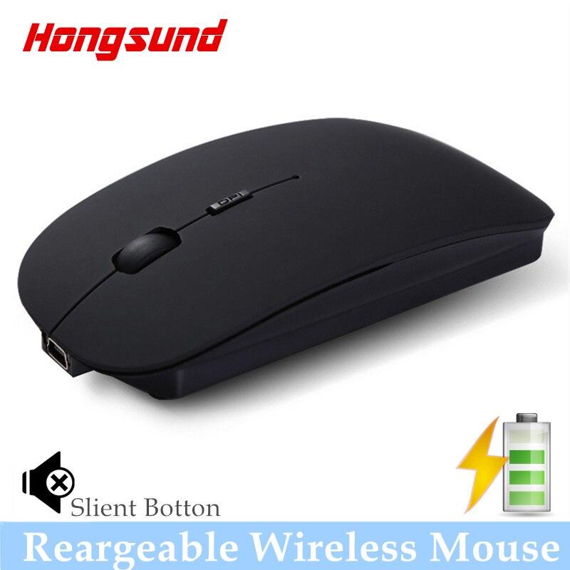 Frete grátis Hongsund Recarregável USB Bateria Mouse Sem Fio Mudo silencioso noiseless Rato Óptico para Computador Portátil Ratos