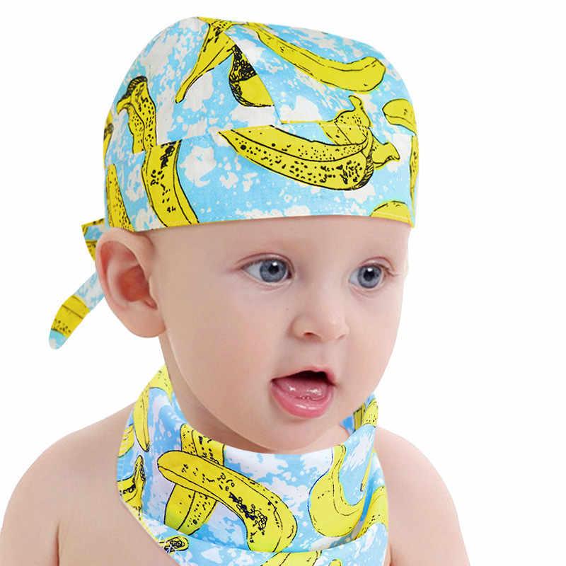 1842ac46c1e Baby Boys Girls Hat Summer Print Cotton Thin Newborn Infant Head Pirate Cap  2Pcs Set With