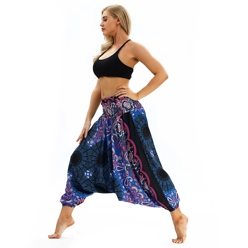 Women Men Pants Casual Woman High Waist Wide Leg Harem Trousers Baggy Boho Loose Aladdin Festival Hippy Jumpsuit Print Lady pant 47