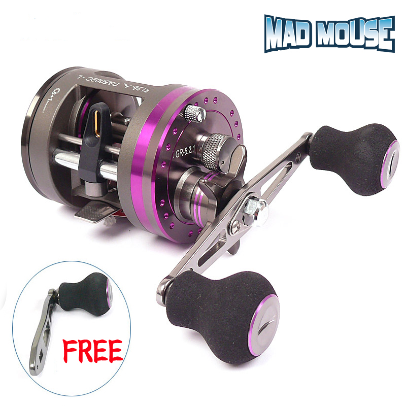 MAD MOUSE New Dragon knight metal Baitcasting Fishing Reel reel 8+1bb 5.2:1 Round Fishing reel boat fishing reel(China)