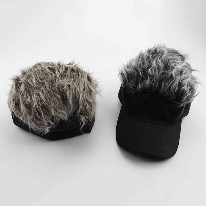 Newly 1 Pcs Wig Baseball Hat Sun Visor Cap with Spiked Hair Winter Warm Outdoor Caps BF88