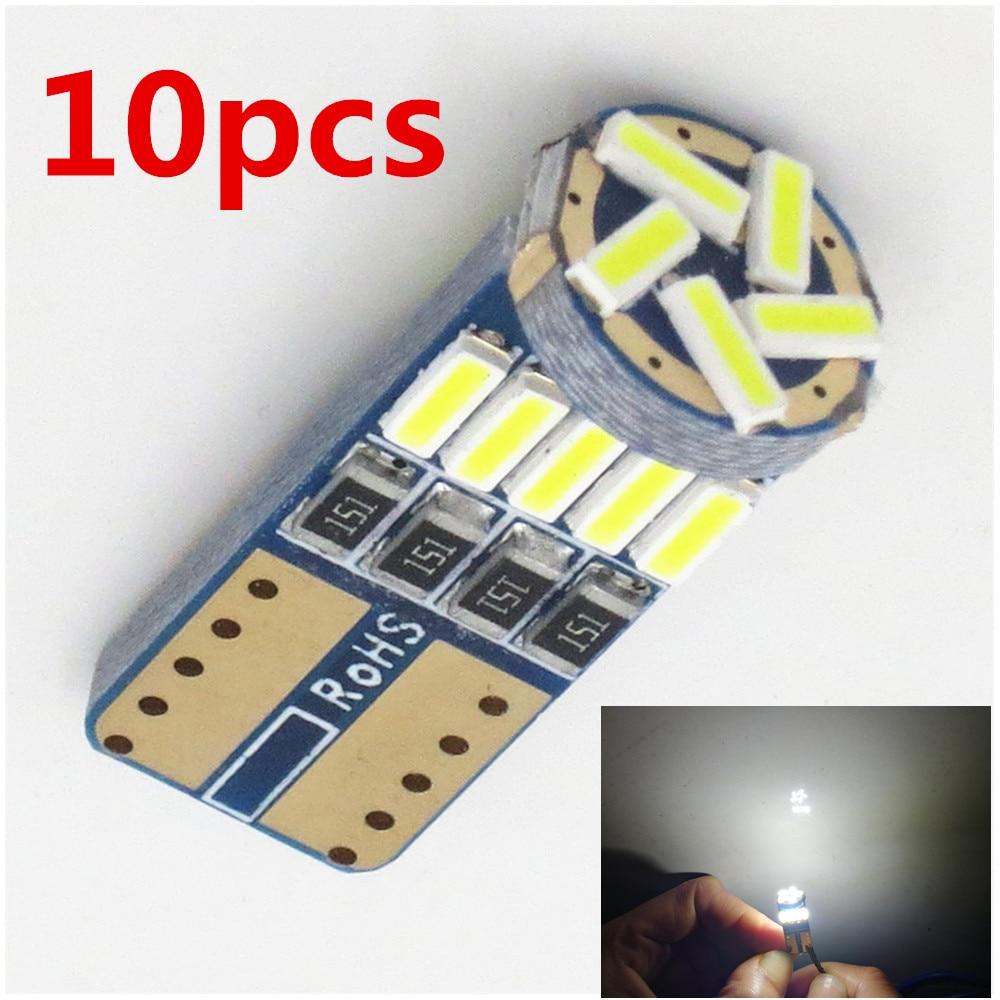 10 шт. T10 лампы Автомобильный светодиодный 194 T10 светодиодный Canbus t10 15 SMD 4014 Автомобильный светодиодный сигнальный светильник парковка для укл...