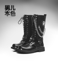 2017 TOP PUNK Rock Men S Fashion Army Motorcycle COOL Boot PU Leather C556 EUO39 45