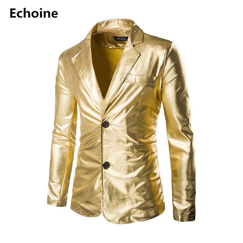 Men Golden jacket Blazer Performance Fitted jacket Silver Costume Nightclub Slim Autumn Winter Male Jacket Classic Party Blazer