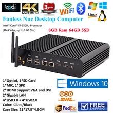 8 ГБ ram 1600 мГц 64 ГБ ssd безвентиляторный mini pc windows 10 core i7 5500u i5 5257u ирис 6100 4 К htpc коди dual hdmi 3d игры pc 2 сетевые адаптеры