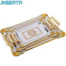 JINSERTA, металлический поднос для хранения ювелирных изделий, ретро десерт, фруктовый торт, тарелка с ручкой для дома, вечерние, свадебные украшения