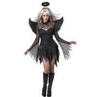 2015 Newest Dark Gothic Fallen Lace Sheer Long Sleeves Sexy Black Halloween Woman Angel Costume Sexy