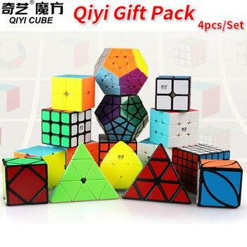 Paquete de regalo de 4 unids/set Qiyi juego de cubo mágico 2x2x2 3x3x3 4x4x4 5x5x5 triangular dodecaedro Mastermorphix LVY velocidad rompecabezas chico Juguetes