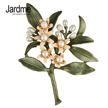 Jardme New design vintage brooch jewelry Orange flower Tree Brooches natural pearls brooch scarves buckle Accessories