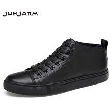 JUNJARM Handmade 100% Genuine Leather Men Ankle Boots Fashion Shoes Vintage Classic Male Casual Plus Size 38-47