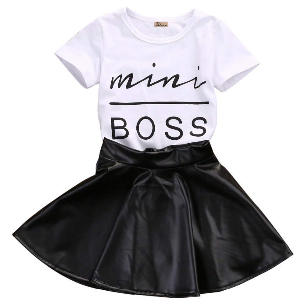 2PCS Baby Set Toddler Kids Baby Girls Clothes Summer Short Sleeve Mini Boss T-shirt+Black Mini Skirts Baby Outfits Set 1-2Y 2017 little maven 1 6 years baby girls set quality brand short sleeve t shirt shorts 100% cotton kids summer clothes set kf175
