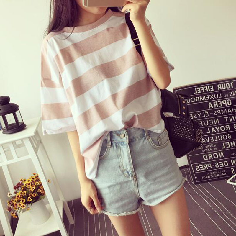 New Fashion T Shirts Women Spring Summer Striped Color Short Sleeve O Neck Tshirt Femme Casual Loose Sweet Style Basic T Shirt