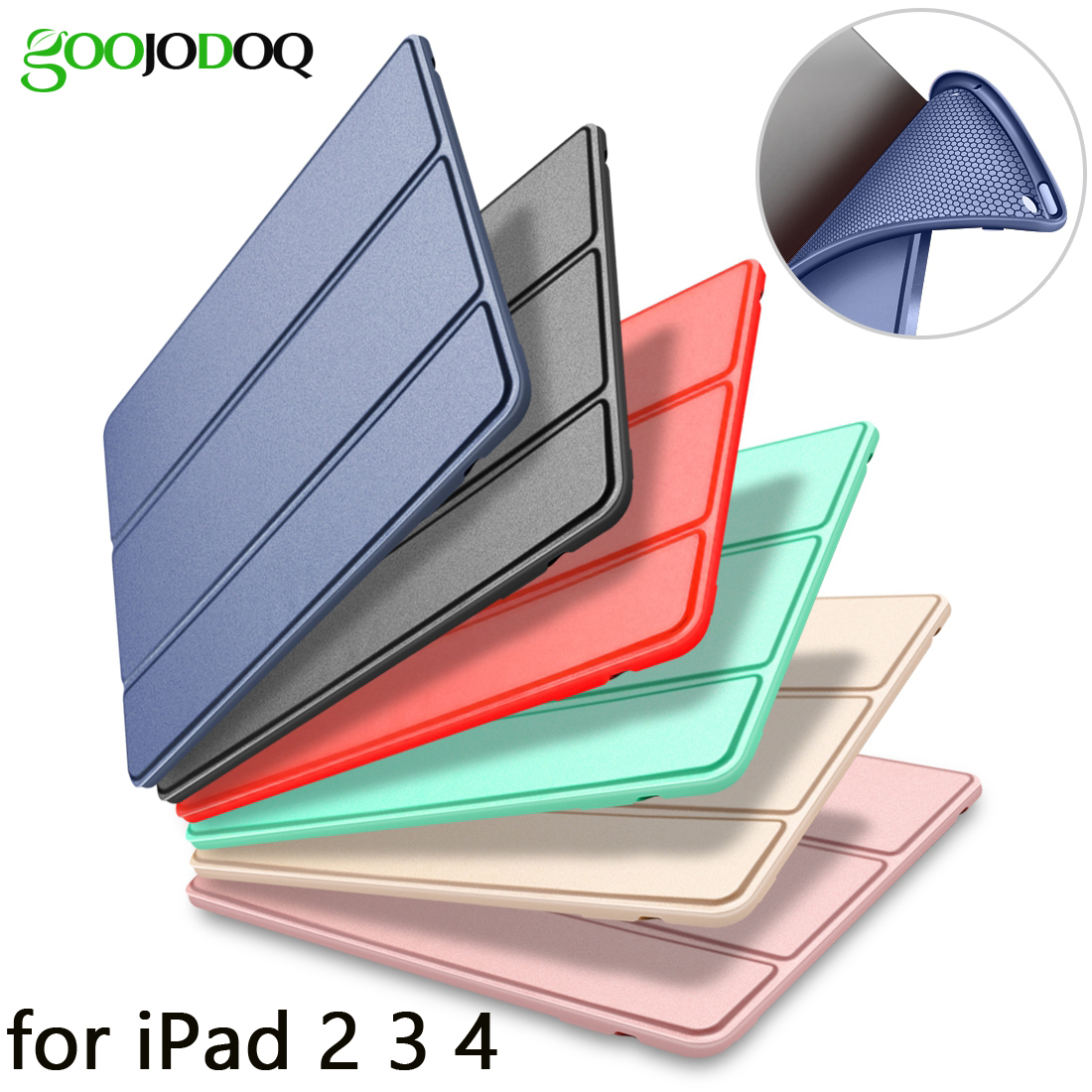 GOOJODOQ Case for iPad 2 3 4 Silicone Soft Back Folio Stand for iPad 2 Case
