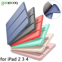 กรณีสำหรับ iPad 2/3/4 ซิลิโคนนุ่มกลับ Folio พร้อม Auto Sleep/Wake Up ปกหนัง PU สมาร์ทสำหรับ iPad 3 4 2