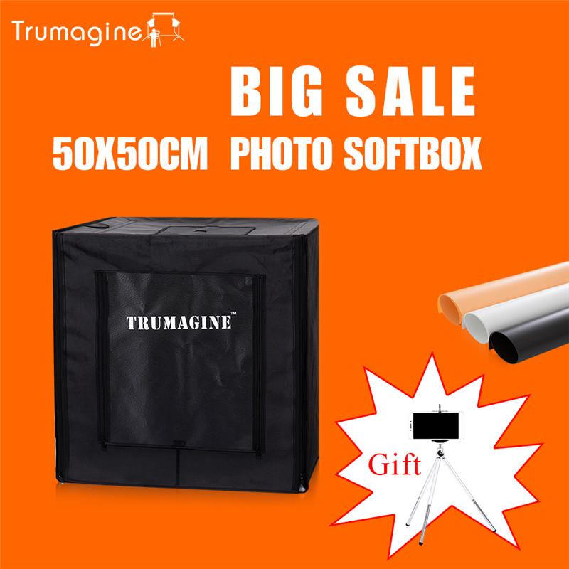 50*50*50CM LED Photo Studio Soft Box Light Tent Photography Softbox Lightbox + Portable Bag +AC Adapter For Jewelry Toys 80 80cm led photo lighting box photography studio light tent softbox portable bag ac adapter for jewelry toys shoting