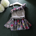 2016 summer new female retro flower halter top + skirt layers of fungus hypotenuse new children's clothing girls suit