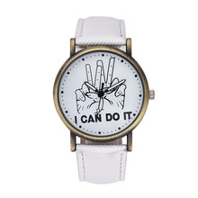 Sizzling Important relogio feminino Ladies Males I Can Do It Victory Signal Leather-based Strap Quartz Wrist Watch march7