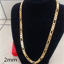 1pc Men 2mm Hot Yellow Gold Color Italy Figaro Link Chain Necklace Lovers Gift