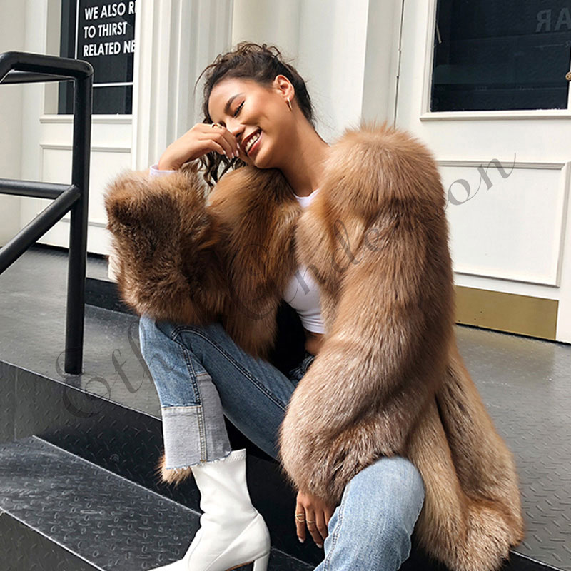 ETHEL ANDERSON натуральный Лисий Мех длинная куртка шоколадного цвета Высокое качество весь лисий мех пальто Женская любовь верхняя одежда с длин