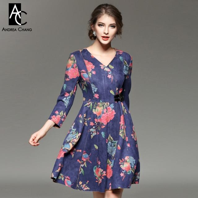 5fa49fed4d Jesień zima suknie runway projektant womans dark blue suede tkaniny różowy  niebieski kwiat wydruku dekolt boczny