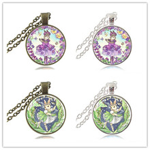 Ballerina Bunny Necklace Rabbit Photo Pendant Butterfly and Flower Jewelry Glass Cabochon Silver Bronze Sweater Necklace HZ1