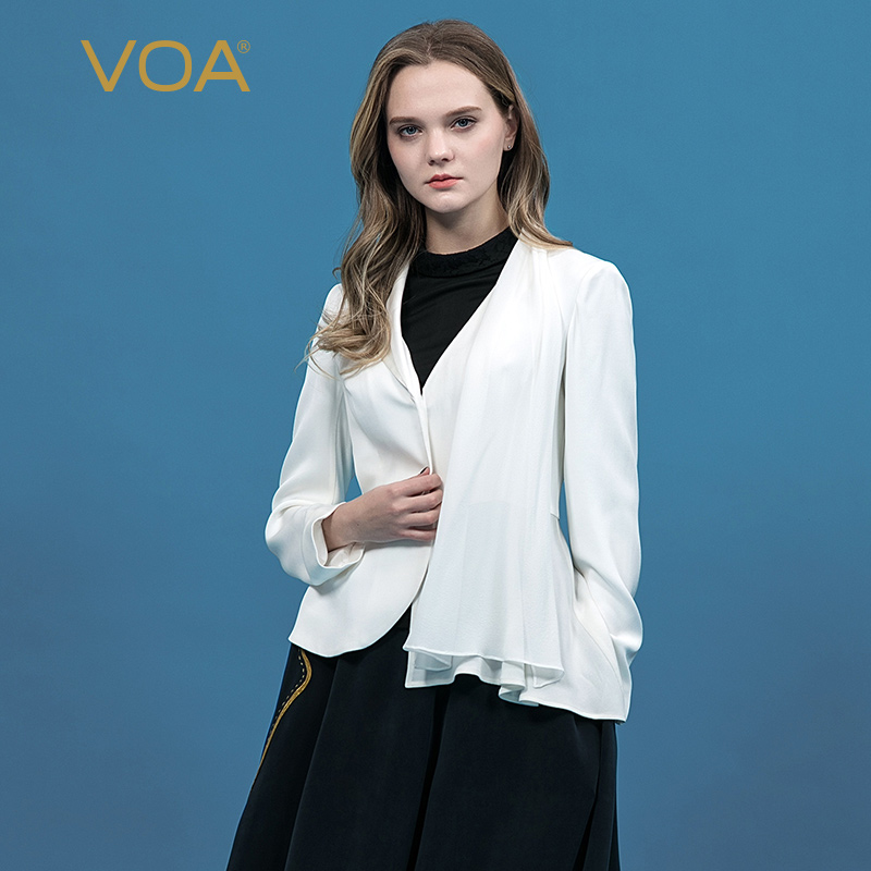 VOA White Blazer Feminino Women Heavy Silk Long Sleeve Suit Coat Office Ladies Work Clothes Tunic Femme Jacket Ruffles Tops W371