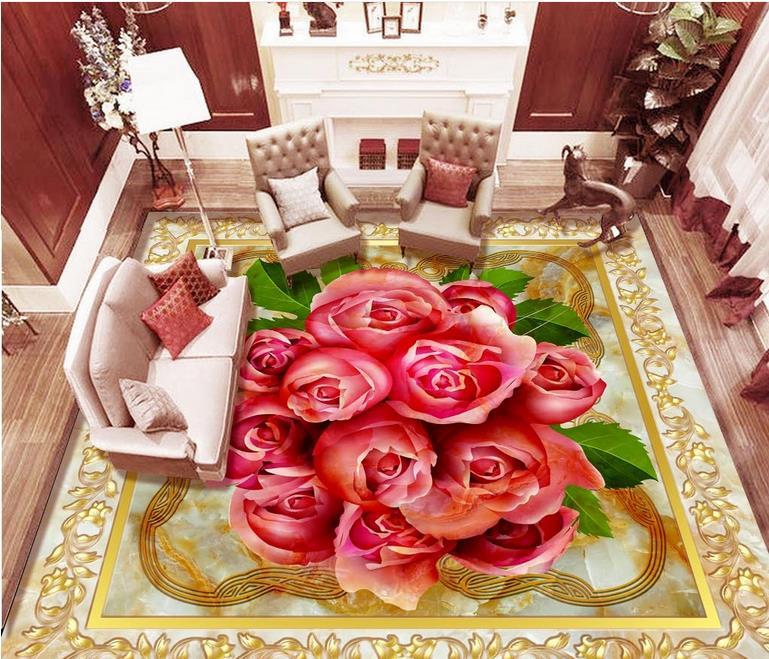 ФОТО custom wallpaper brick wall 3d flooring waterproof wall paper Marble mosaic 3d floor self adhesive wallpaper