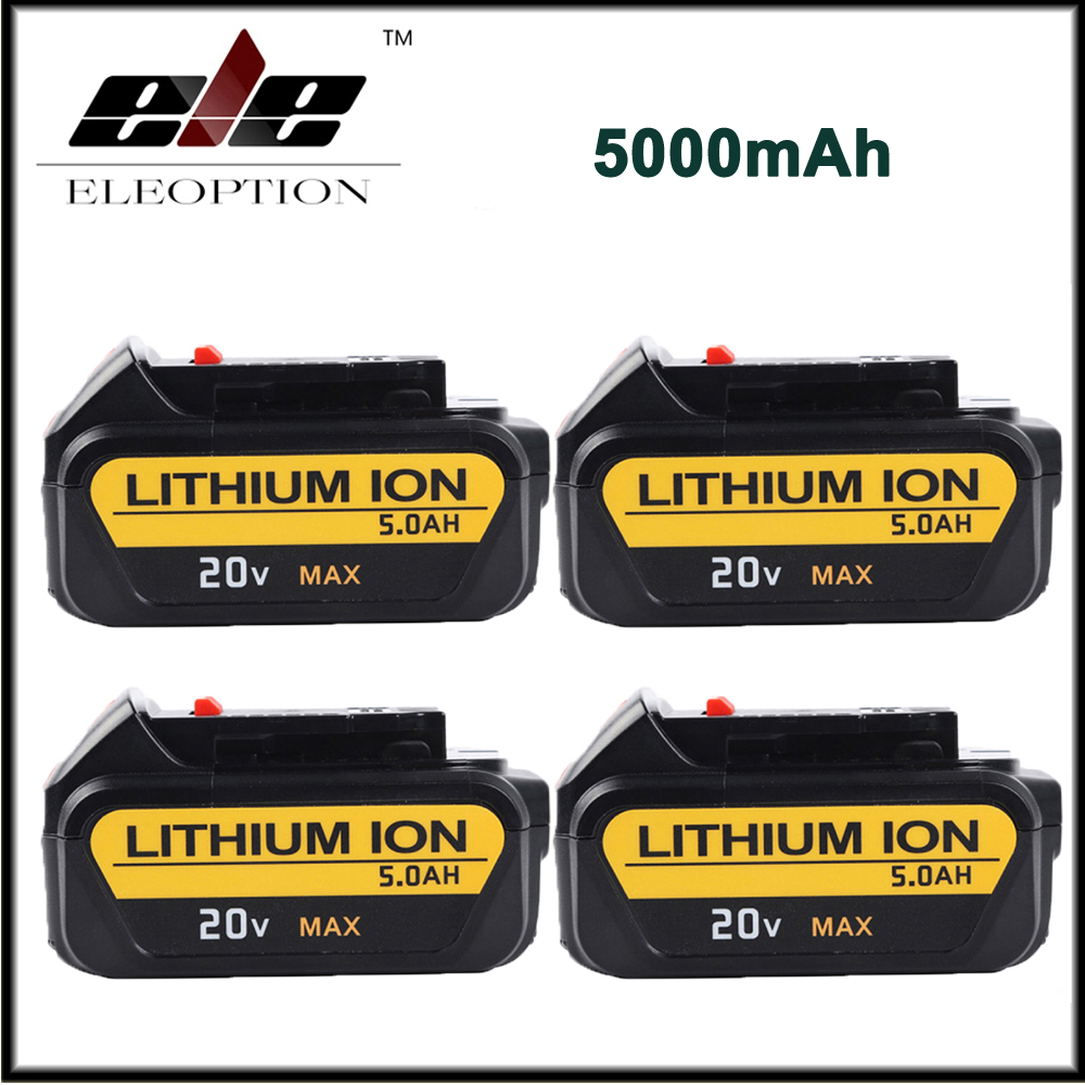 4x 20V 5000mAh Li-ion For Dewalt Replacement Battery for DCB200 DCB181 DCB182 DCB201 DCB204-2 DCD740 melasta 20v 4000mah lithiun ion battery charger for dewalt dcb200 dcb204 2 dcb180 dcb181 dcb182 dcb203 dcb201 dcb201 2 dcd740