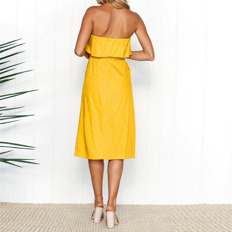 c15329ed709ef US $11.96 35% OFF|Woman Elegant Yellow Ruffle Off Shoulder Bow Tie Dress  Women 2018 Summer Strapless Buttons Party Dresses Knee Length Vestidos-in  ...