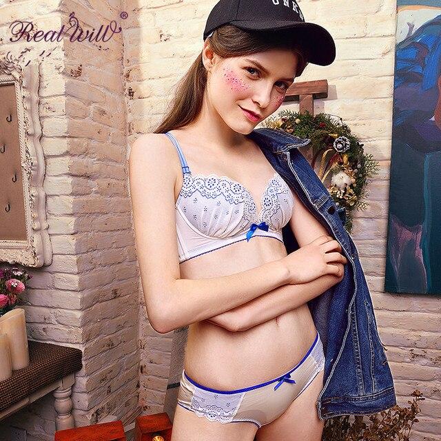 35bd4058007 Realwill White Womans Bra Brief Sets Ladies Underwear Bras Push Up Cotton Lingerie  Set Bra