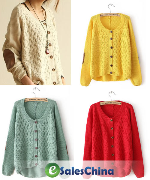 Free Shipping Cheap Cardigan Women's Knitted Sweater Patched Loose ...