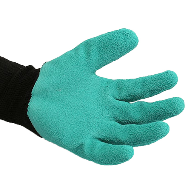 Behogar 1 Pair Tough Rubber Protective Garden Gloves with Claw Design on One Glove for Digging Raking Planting Gardening