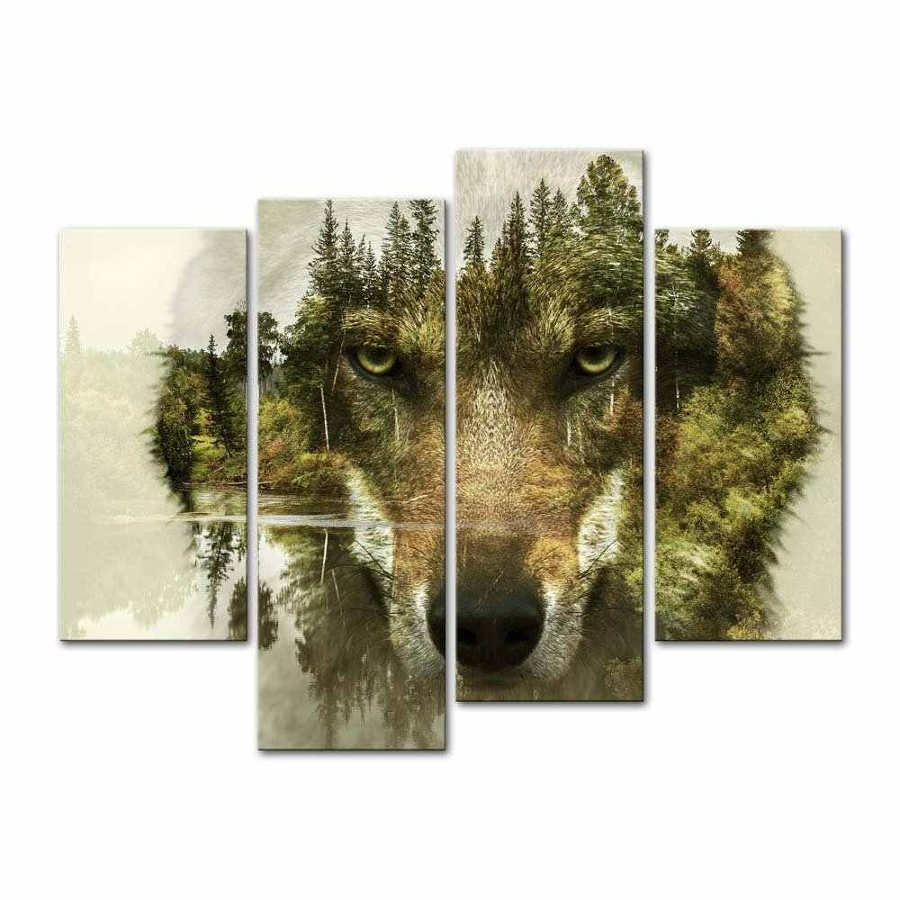 4 Pieces Picture Wolf Forest Watercolor painting  Family picture,Abstract Wall Art Animal Canvas print art decor room and Gifts