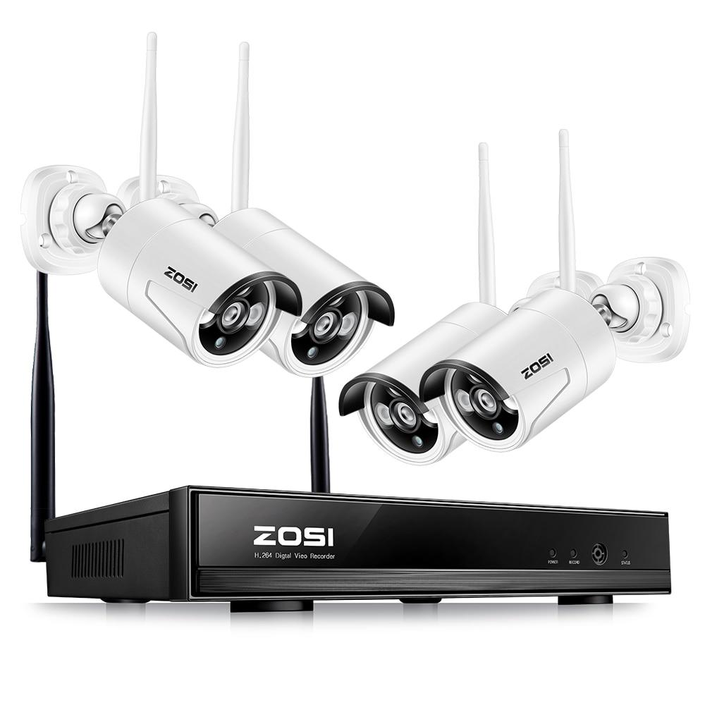 ZOSI Plug Play Wireless 4CH CCTV Camera System P2P Wireless 1080P NVR IP Camera 960P Outdoor