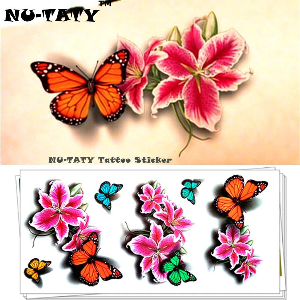 Nu-TATY Butterfly Dance 3d Müvəqqəti Tatu Bədən İncəsənəti Fləş Tatu Etiketləri 19 * 9sm Suya davamlı Tatu Ev Dekor Divar Etiketi