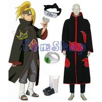 Hot Koop! Anime Naruto Akatsuki Deidara Cosplay Kostuum Combo Set (Mantel + Hoofdband + Ninja Laarzen + Ring) Gratis Verzending