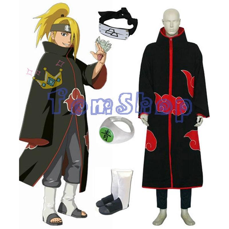 Hot Sale! Anime Naruto Akatsuki Deidara Cosplay Costume Combo Set (Cloak + Headband + Ninja Boots + Ring) Free Shipping